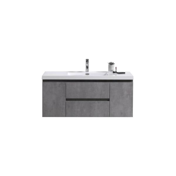Bohemia 48 in. W Vanity in Cement Gray with Reinforced Acrylic Vanity Top in White with White Basin