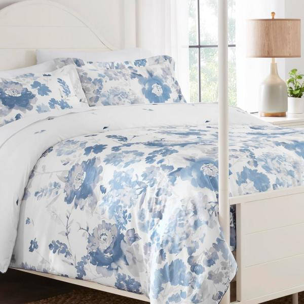 Loriana 3-Piece Blue Floral Full/Queen Comforter Set