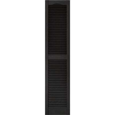 15 in. x 67 in. Louvered Vinyl Exterior Shutters Pair in #002 Black