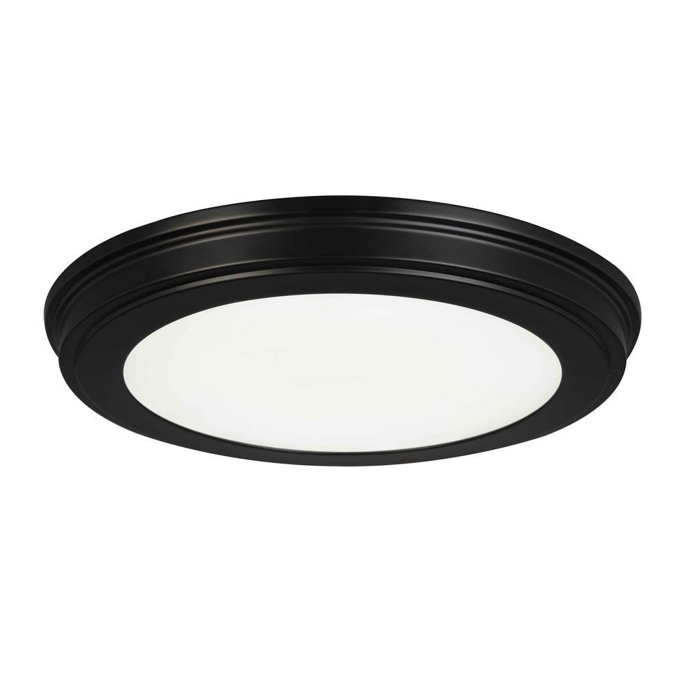 13 in. Matte Black Selectable LED Flush Mount