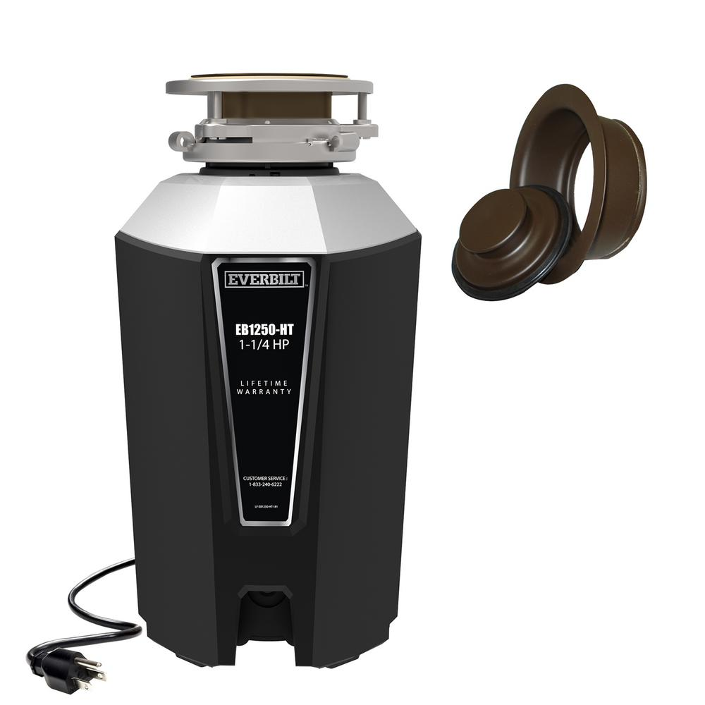 Everbilt Designer Series 1 25 HP Continuous Feed Garbage Disposal with Oil  Rubbed Bronze Sink Flange and Attached Power Cord
