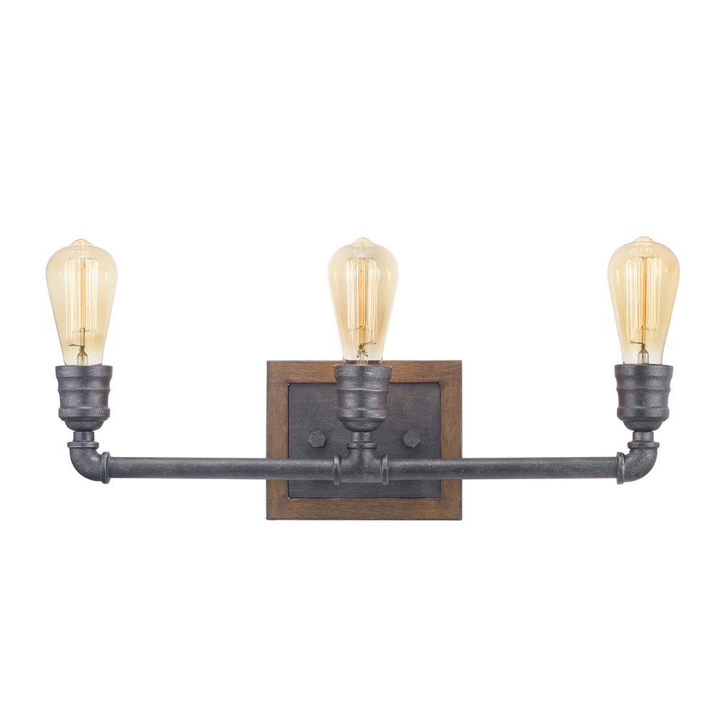 Home Decorators Collection Palermo Grove 3-Light Gilded Iron Bath Light with Painted Walnut Wood Accents