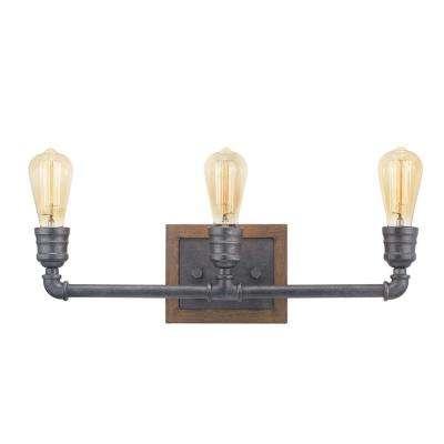 Palermo Grove 3-Light Gilded Iron Bath Light with Painted Walnut Wood Accents