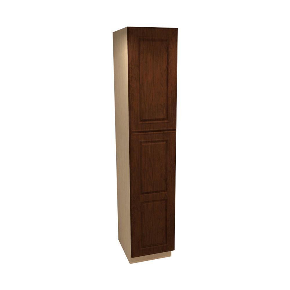 Home Decorators Collection Roxbury Assembled 18 x 84 x 21 in. Pantry/Utility 2 Single Door Hinge Right Linen Vanity Cabinet in Manganite