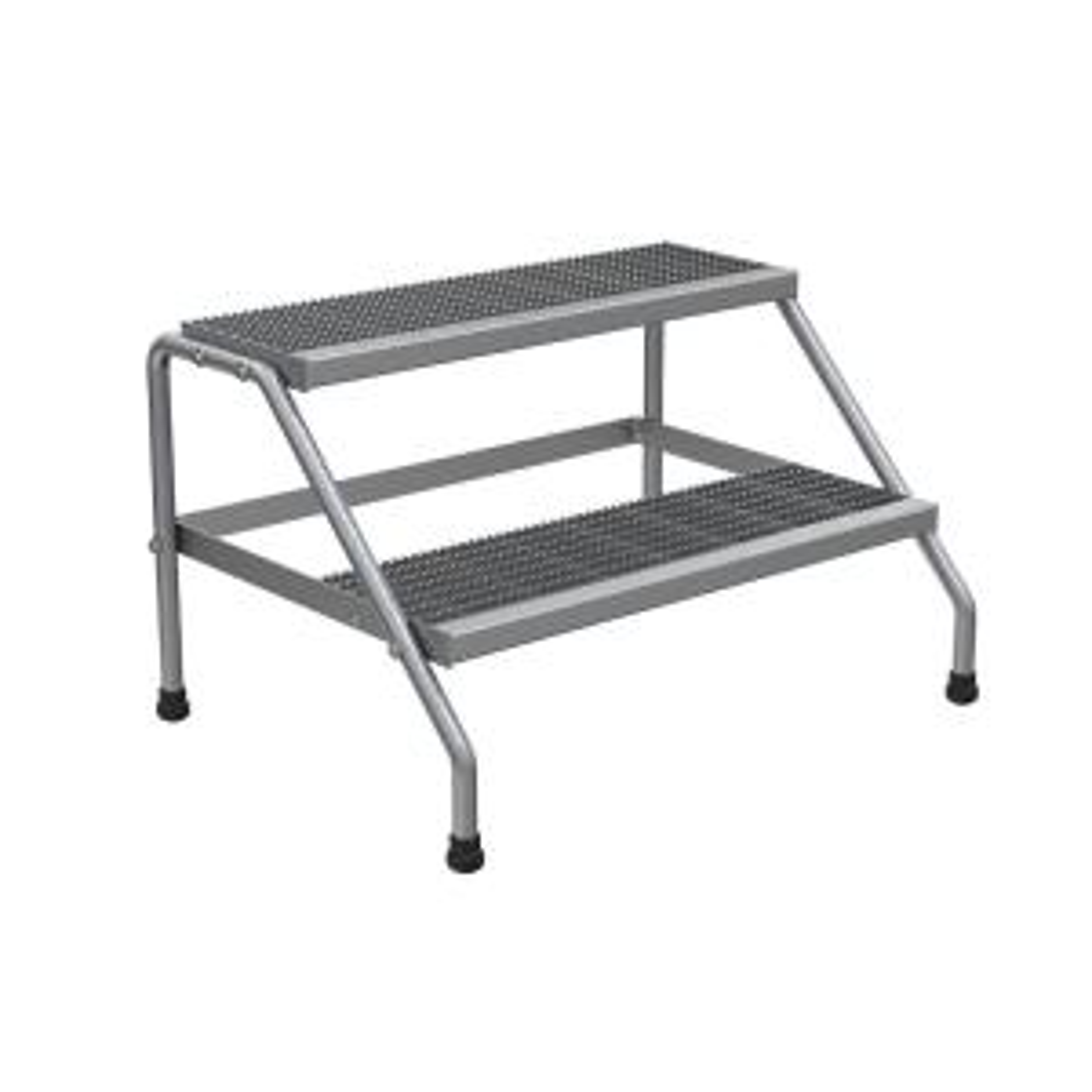 Vestil 2-Step Aluminum Step Stand - Knock Down and Wide Welded by Vestil