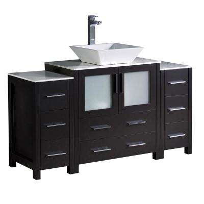 Torino 54 in. Bath Vanity in Espresso with Glass Stone Vanity Top in White with White Basin