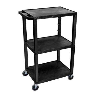 AV 18 in. W x 24 in. L 3-Flat Shelf Utility Cart Black