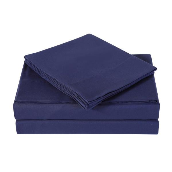 Truly Soft Navy 3-Piece Solid 180 Thread Count Microfiber Twin Sheet Set