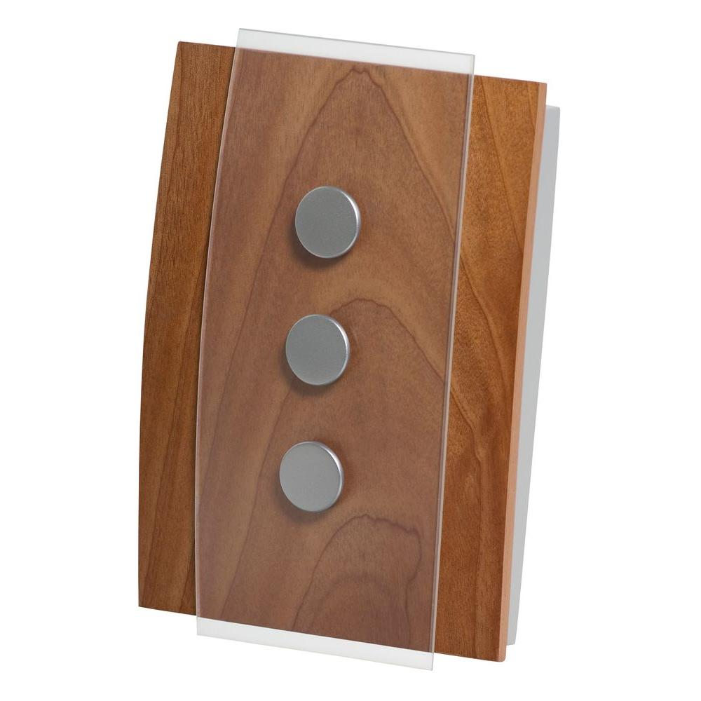 Decor Series Wireless Door Chime, Wood with Satin Nickel Accent