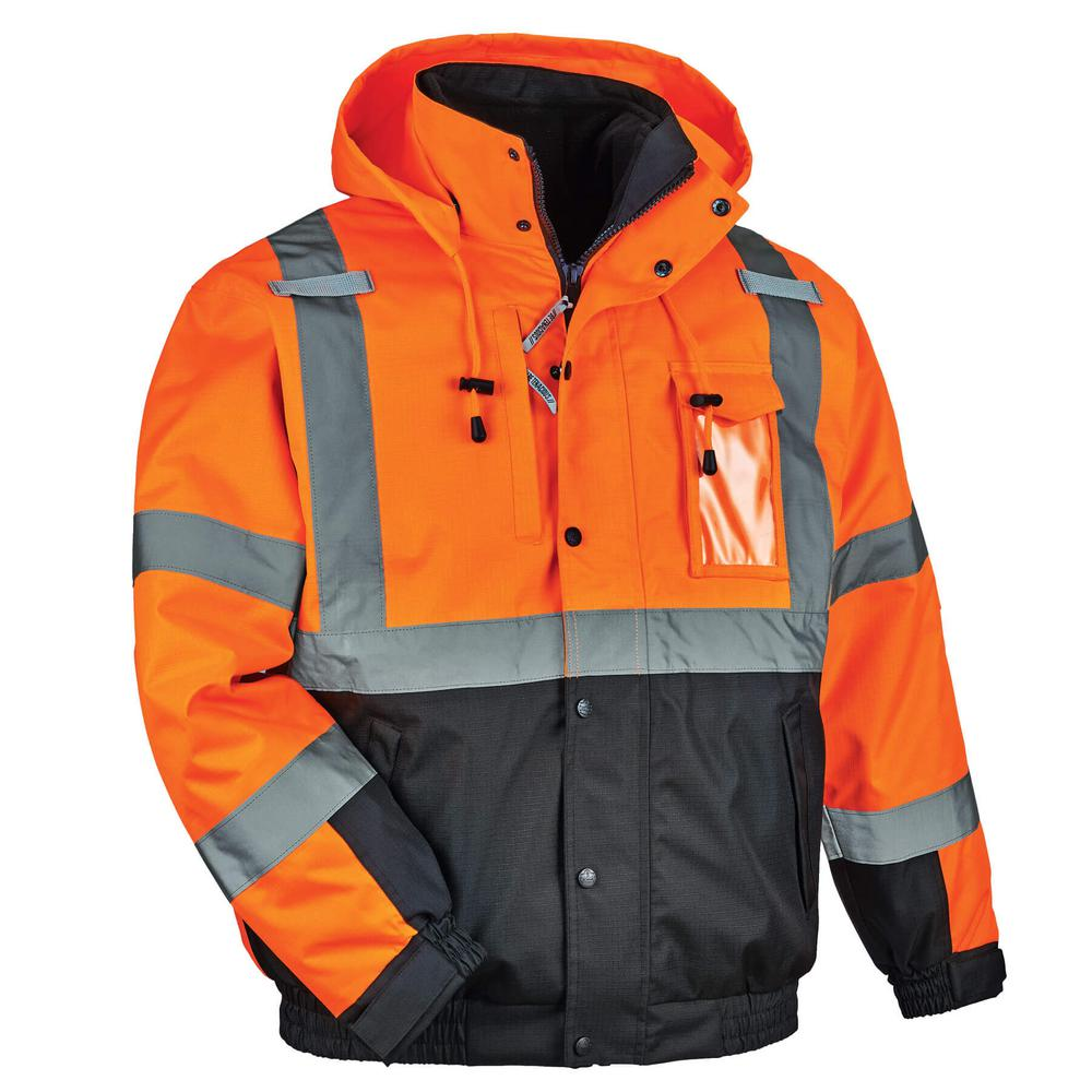 Mens Hi Viz High Visibility Bomber Safety Work Black Hooded Jacket Coat All Size Facility Maintenance & Safety Personal Protective Equipment (ppe)
