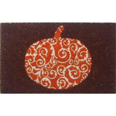 Scrolled Pumpkin 17 in. x 28 in. Non-Slip Coir Door Mat