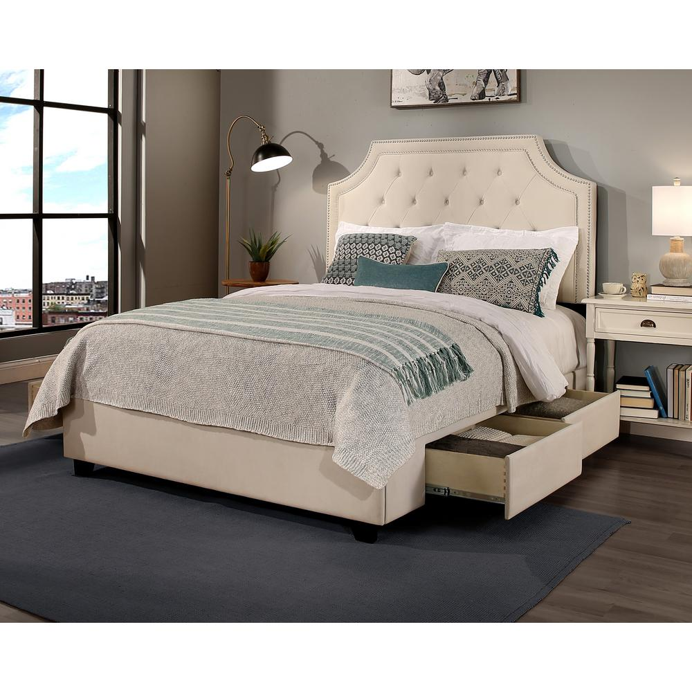 null audrey ivory eastern king upholstered bed - Eastern King Bed Frame