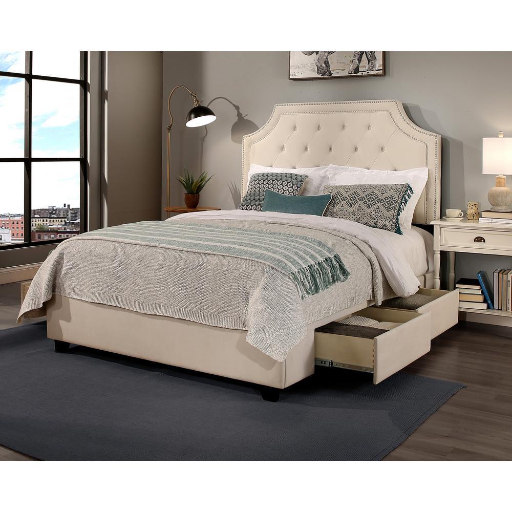 Audrey Ivory Eastern King Upholstered Bed