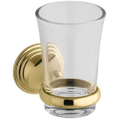 Devonshire 5.125 in. Tumbler and Holder in Vibrant Polished Brass