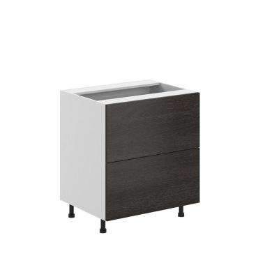 Leeds Ready to Assemble 30 x 34.5 x 24.5 in. 2-Deep Drawer Base Cabinet in White Melamine and Door in Steel