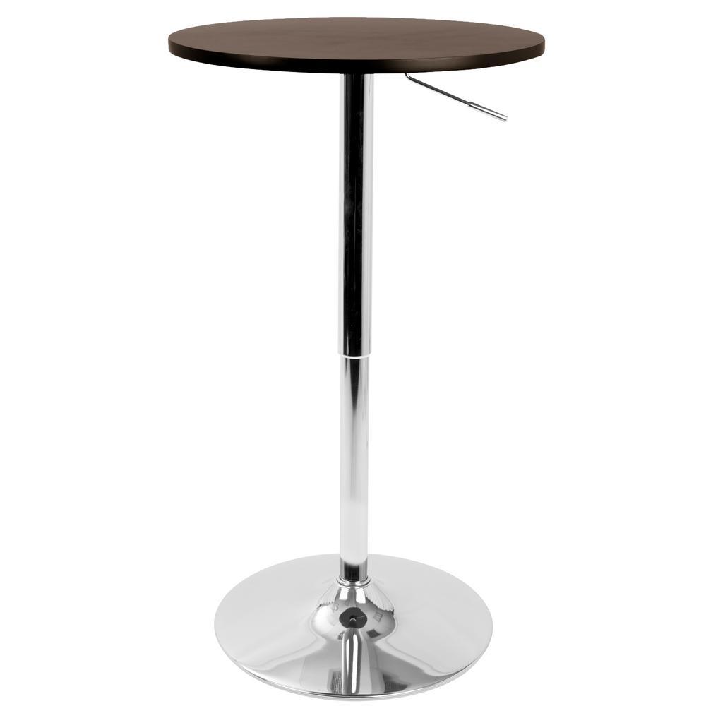Brown and Chrome Adjustable Bar Table