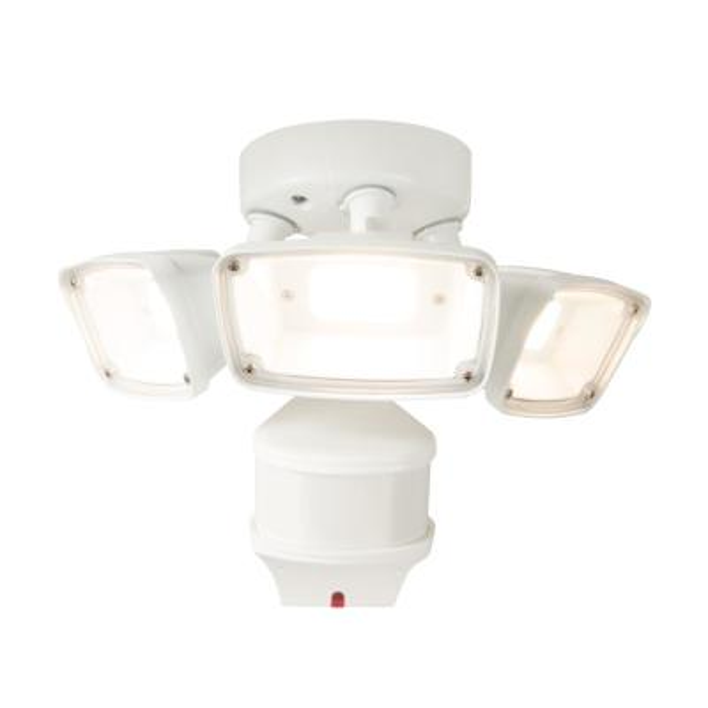 270-Degree White Doppler Motion Activated Outdoor Integrated LED Triple Head Flood Light, Selectable CCT (3000K-5000K)