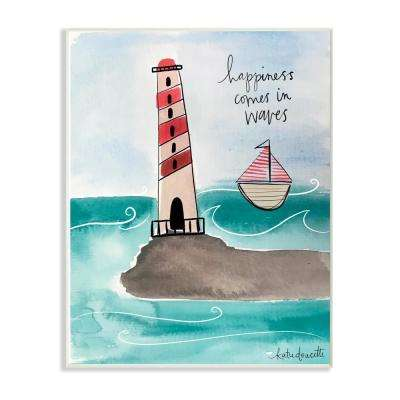 "12.5 in. x 18.5 in. ""Happiness Comes In Waves Lighthouse And Sailboat Coastal"" by Katie Doucette Wood Wall Art"