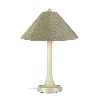 San Juan 34 in. Outdoor White Table Lamp with Basil Linen Shade