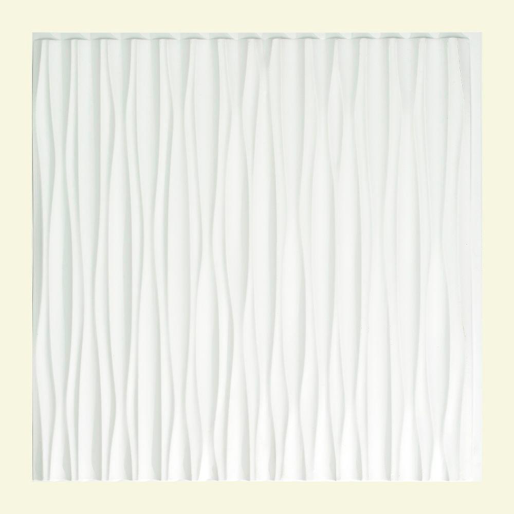 Dunes Vertical - 2 ft. x 2 ft. Glue-up Ceiling Tile in Gloss White
