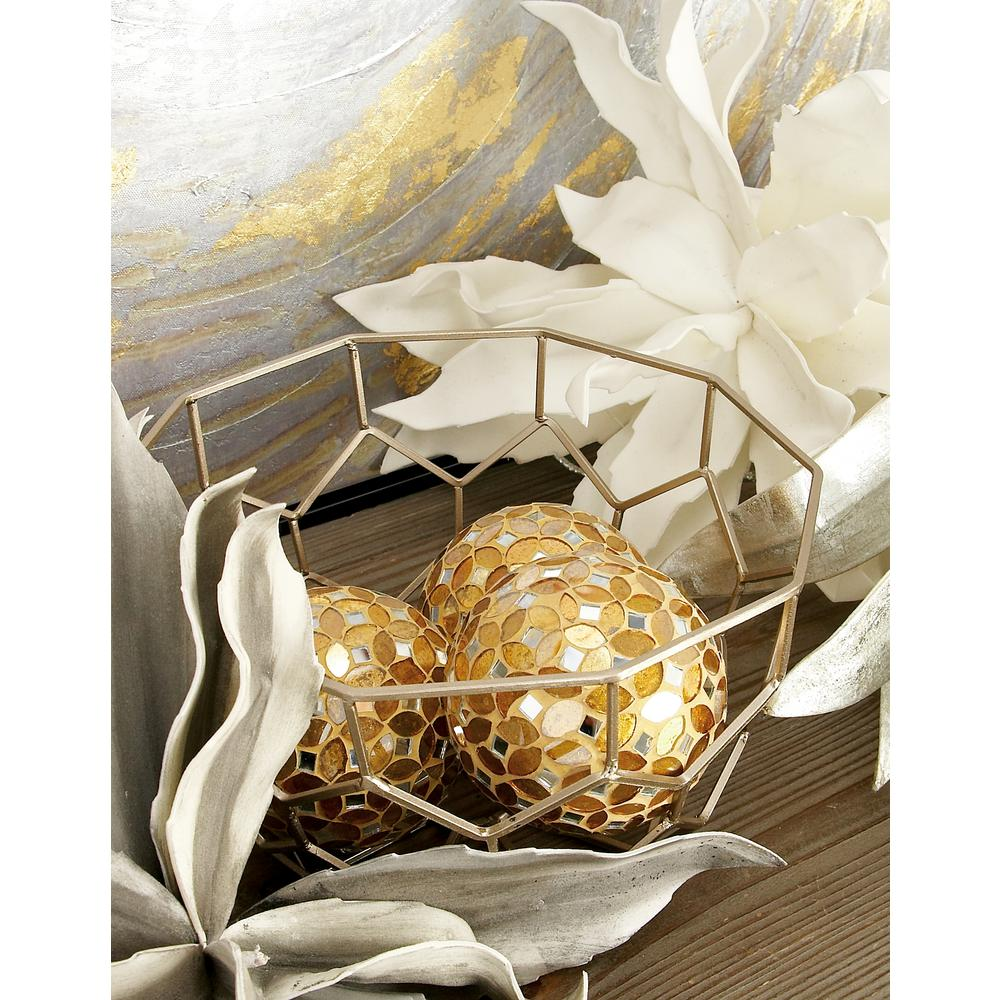 4 in. Dia Gold Glass and PVC Mosaic Decorative Balls (Set