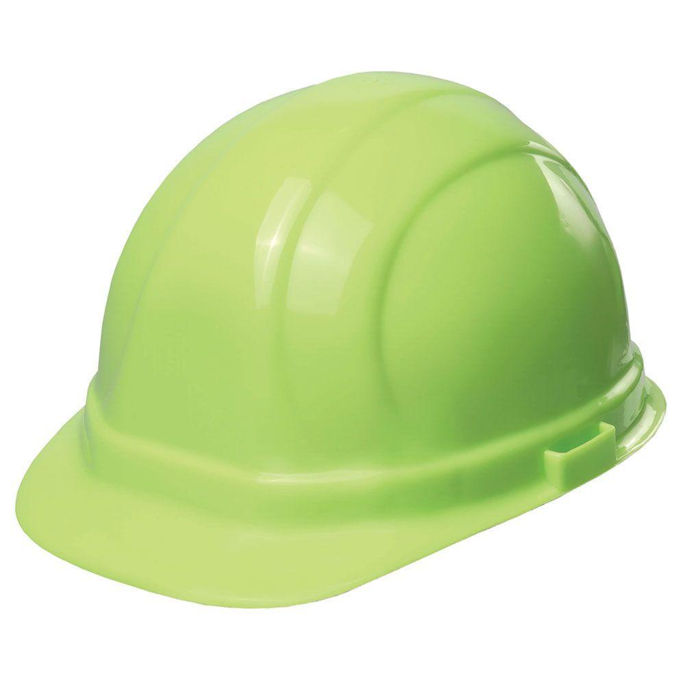 ERB Omega II 6 Point Suspension Nylon Mega Ratchet Cap Hard Hat in Hi Viz Lime