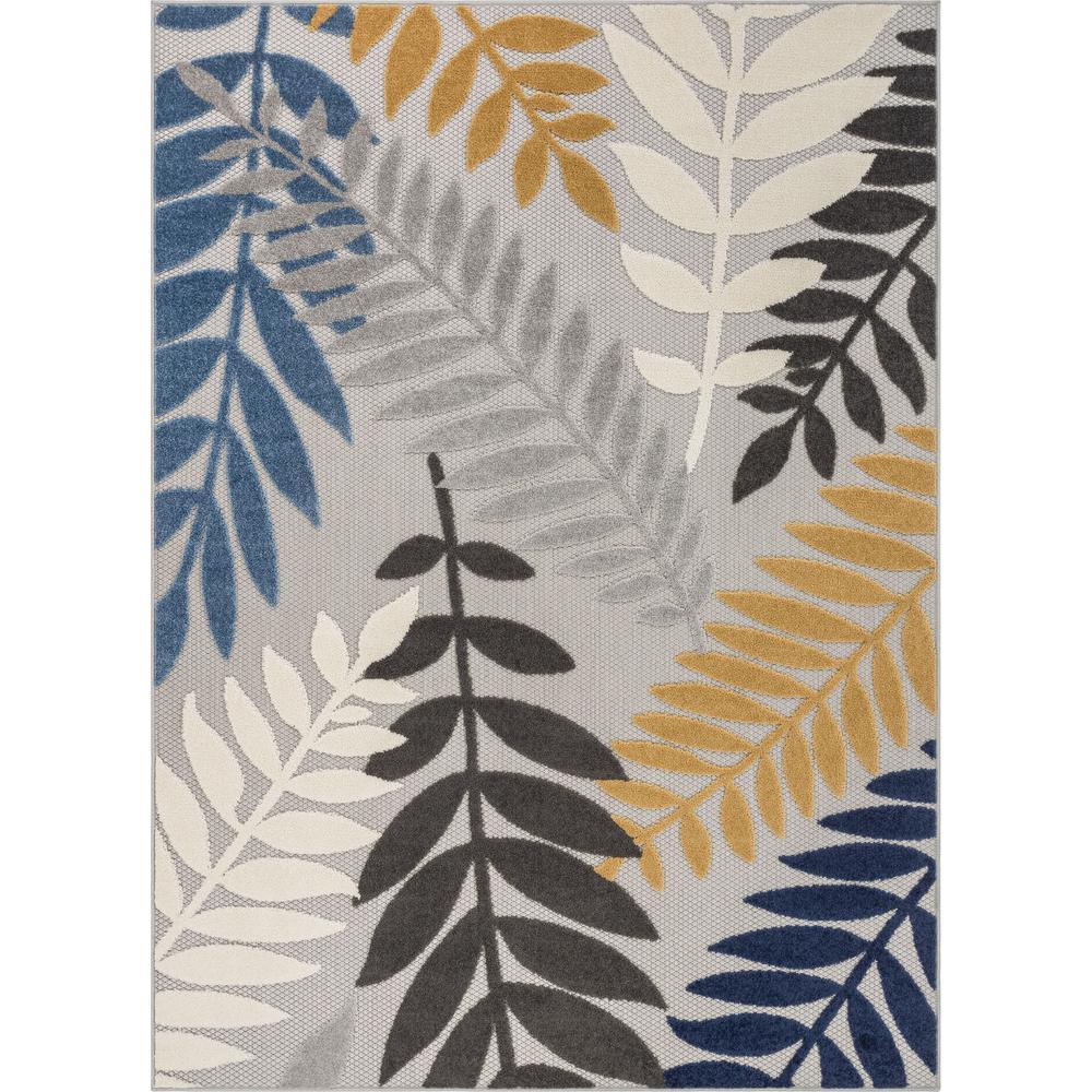Dorado Mariah Modern Tropical Leaves Grey Hight-Low Indoor/Outdoor 5 ft. 3 in. x 7 ft. 3 in. Area Rug