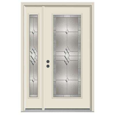 50 in. x 80 in. Full Lite Kingston Primed Steel Prehung Right-Hand Inswing Front Door with Left-Hand Sidelite