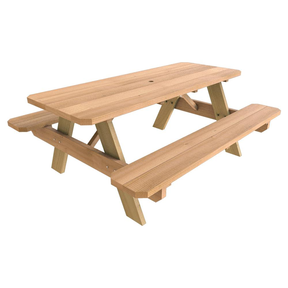 In X In Wood Picnic Table The Home Depot - Park picnic table dimensions