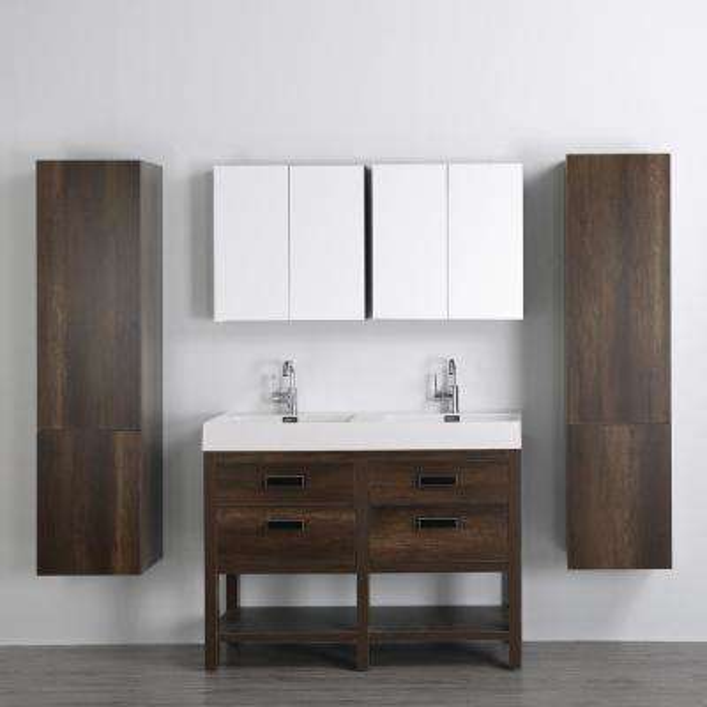 H Bath Vanity In Brown With Resin