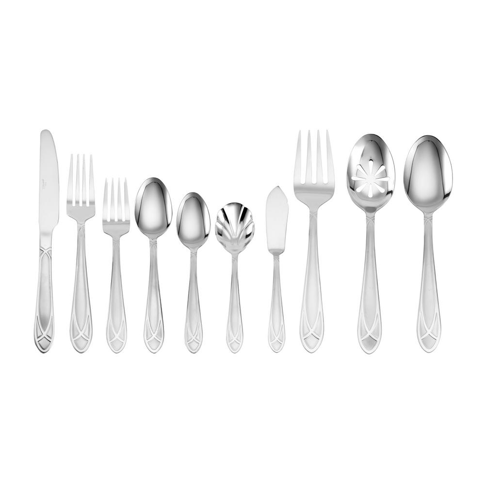 Mirage Frost 45-Piece Flatware Set with Wire Caddy