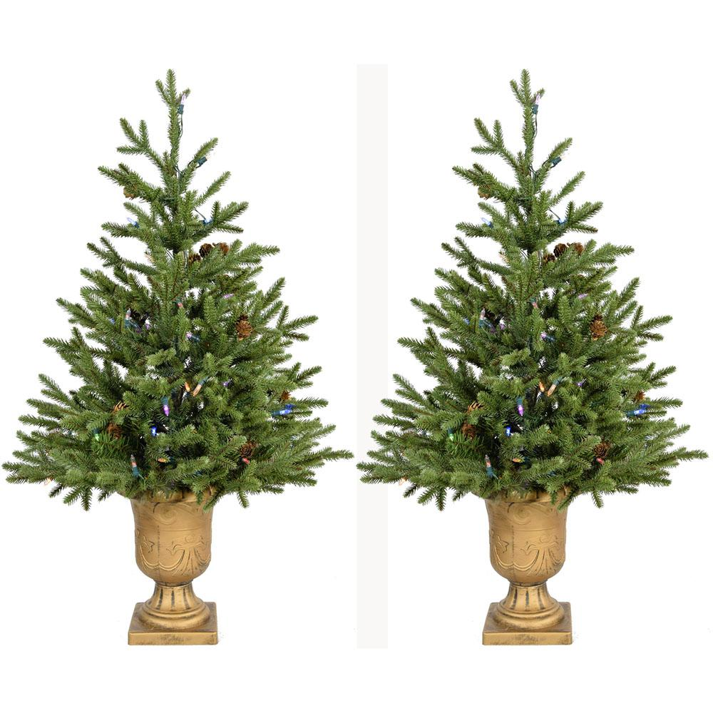 3 ft. Noble Fir Artificial Trees with Urn Bases and Battery-Operated