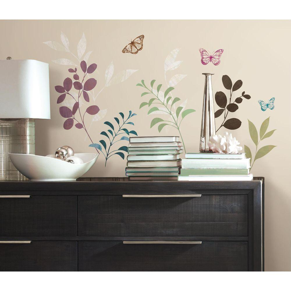 RoomMates 5 in. x 11.5 in. Botanical Butterfly Peel and Stick Wall Decal