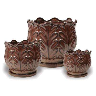 Ceramic Bromeliad Pots with Attached Saucer (Set Of 3)