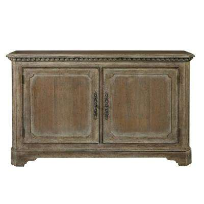 Hand Painted Traditional Brown Distressed 2 Door Accent Storage Console With Br Hardware