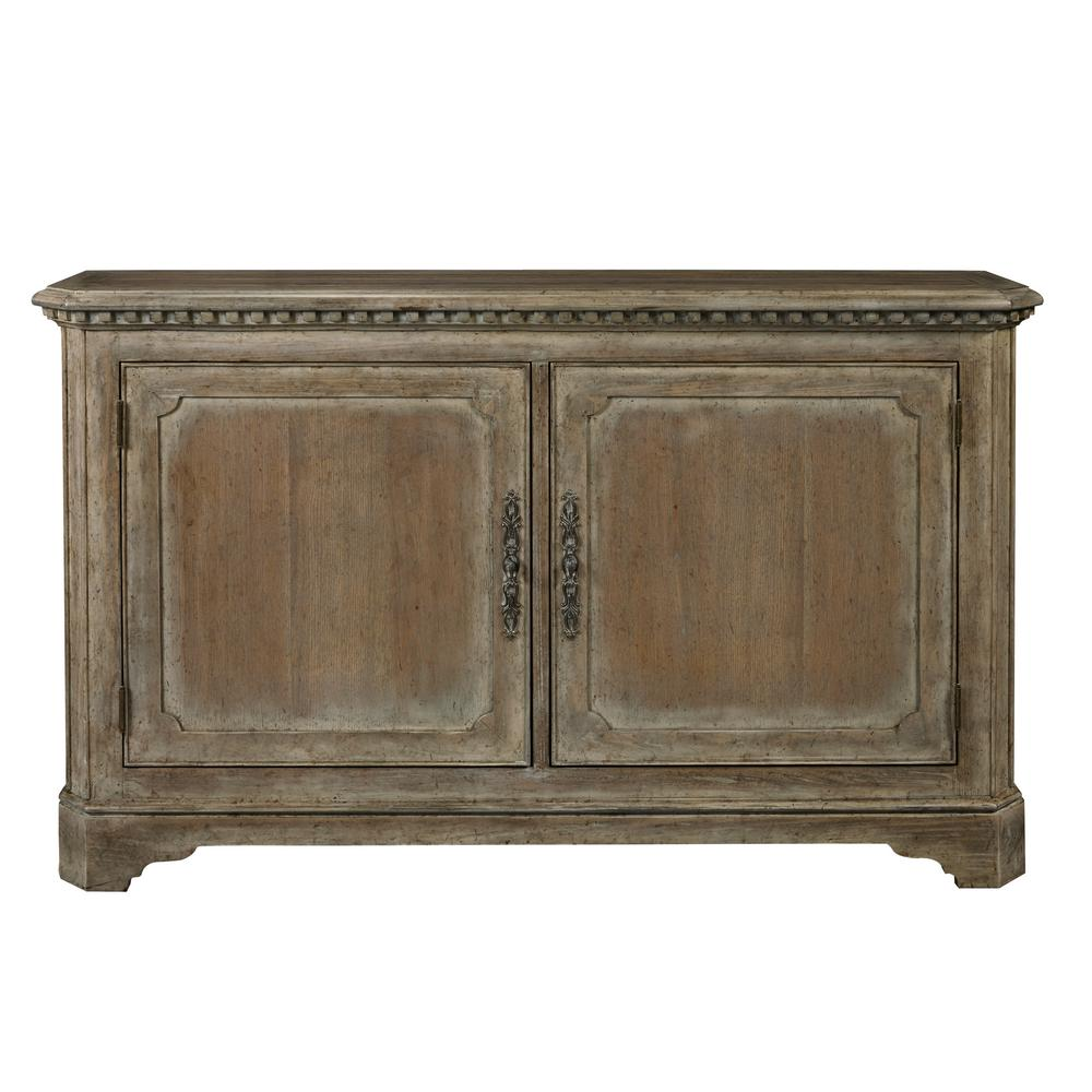 Pulaski furniture hand painted traditional brown distressed 2 door accent storage console with brass hardware d153 119 the home depot