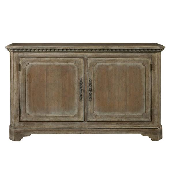 Hand Painted Traditional Brown Distressed 2 Door Accent Storage Console With Brass Hardware