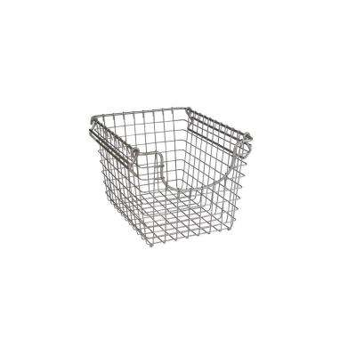 Scoop 10.25 in. W x 12.75 in. D x 8.375 in. H Small Stacking Basket in Satin Nickel Powder Coat