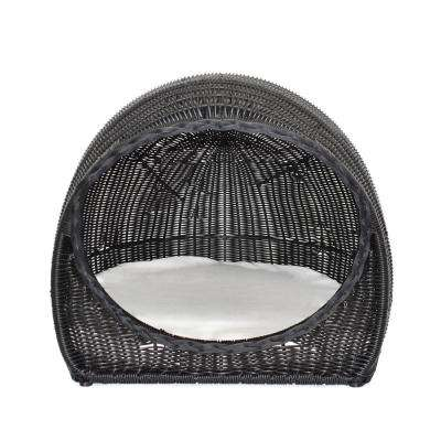 Rocky Black Wicker Igloo Outdoor Pet Bed with Beige Cushions