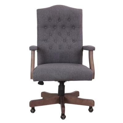Button Tufted Desk Chair. Slate Gray Linen Fabric. Driftwood Wood Finish. Hooded Casters. Pnuematic Lift.