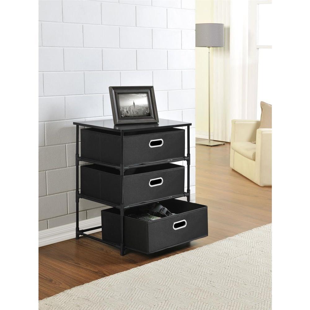 Black 3 Bin Storage End Table
