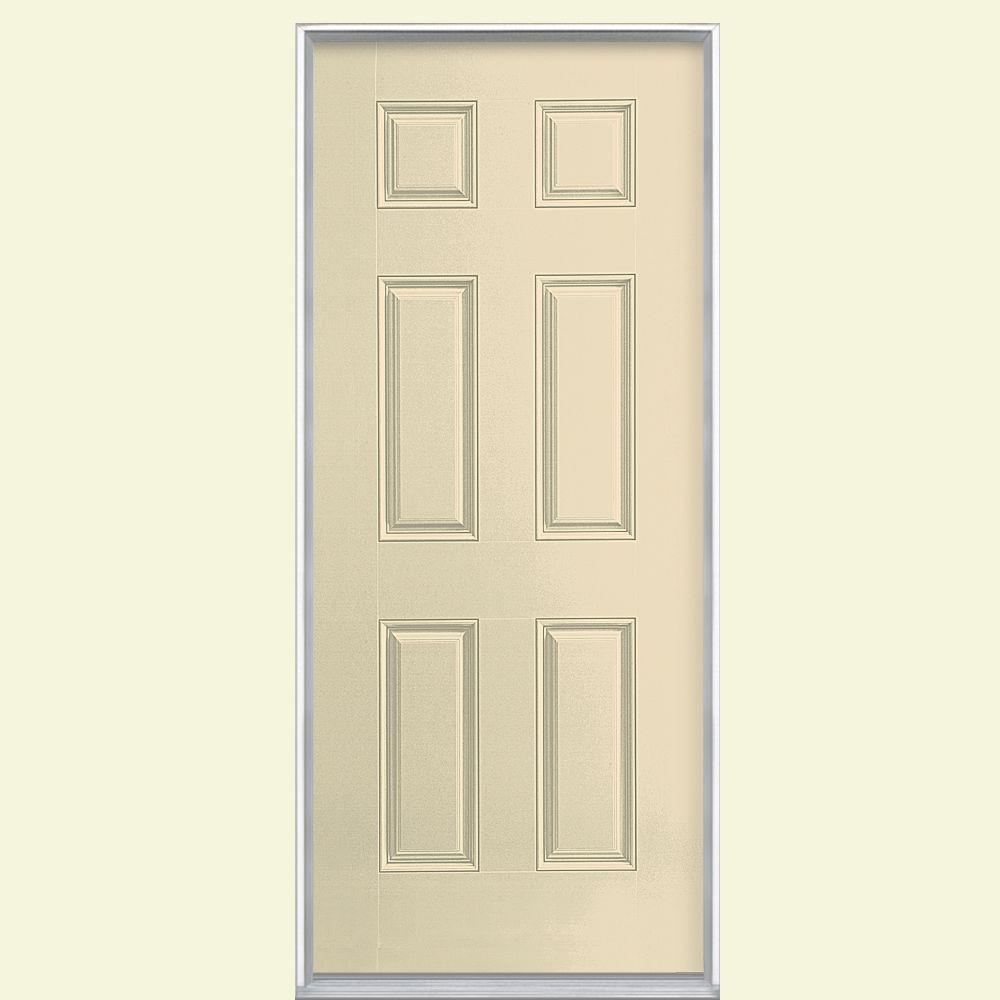 Masonite 36 in. x 80 in. 6-Panel Golden Haystack Left Hand Inswing Painted Smooth Fiberglass Prehung Front Door, Vinyl Frame