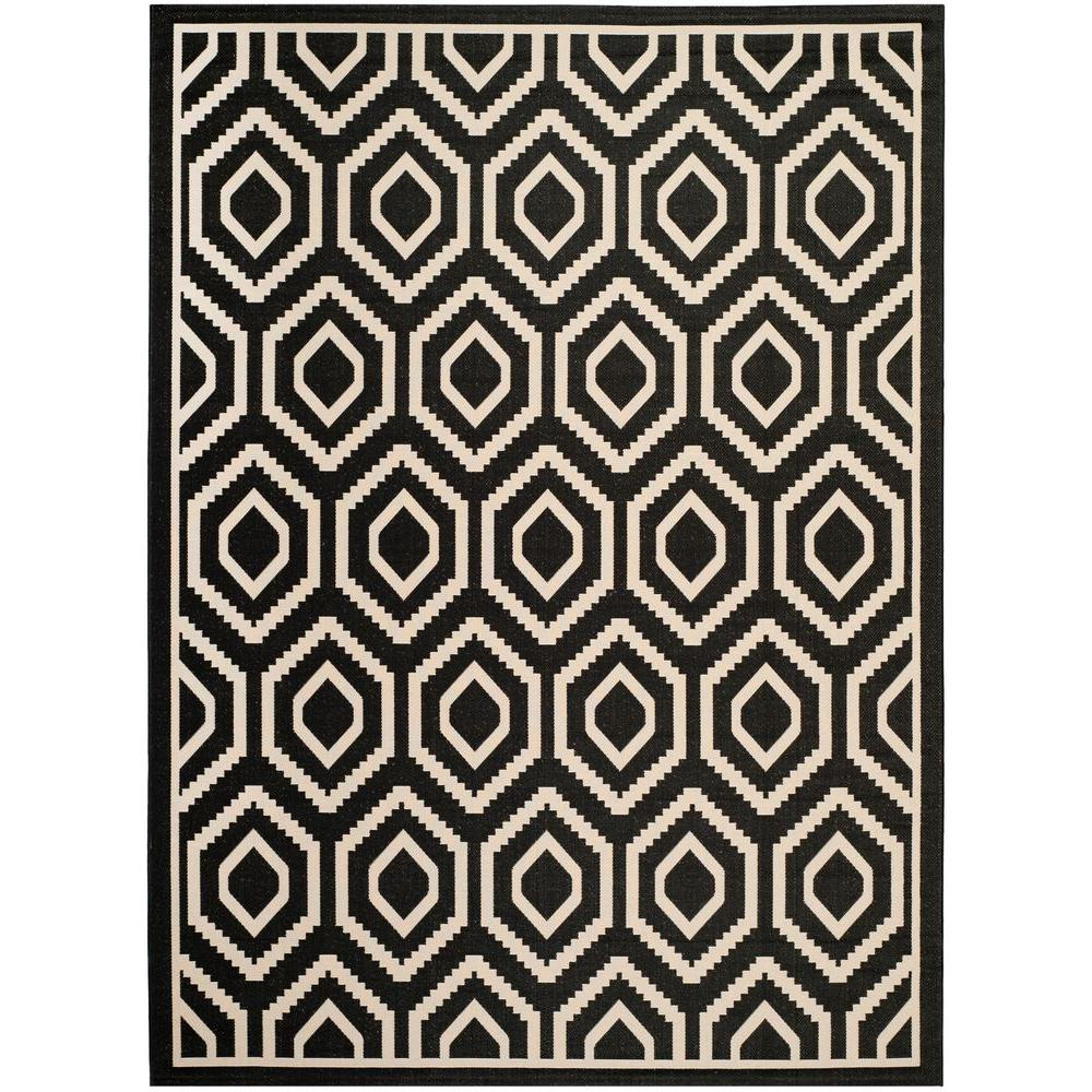Safavieh Courtyard Black Beige 9 Ft X 12 Ft Indoor Outdoor Area