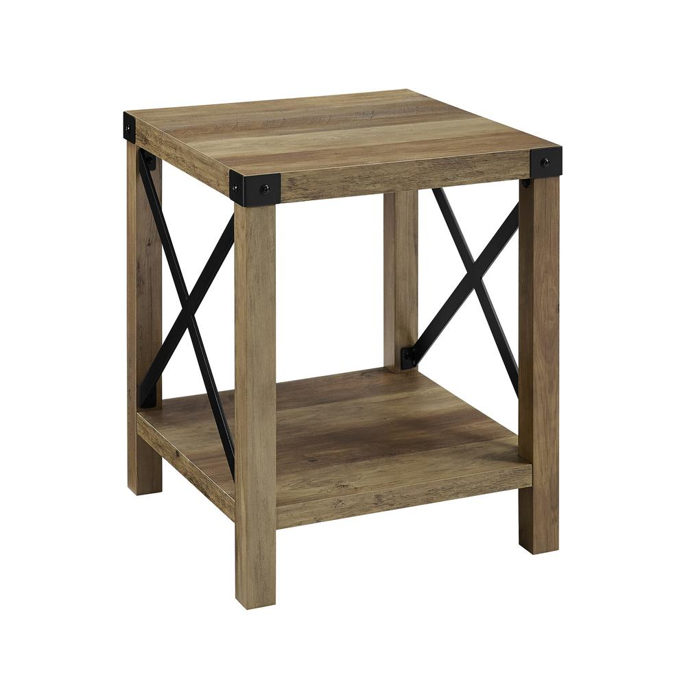 Rustic Oak Urban Industrial Metal X Accent Side Table