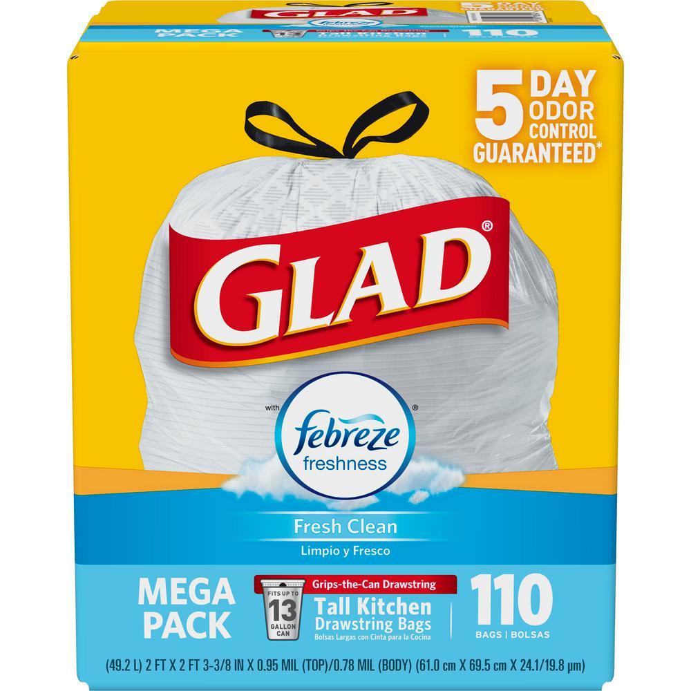 Glad 13 Gal Tall Kitchen Drawstring Febreze Fresh Clean Odorshield Trash Bags 110 Count
