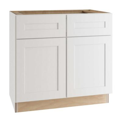 Newport Assembled 36x34.5x24 in. Plywood Shaker Base Kitchen Cabinet Soft Close Doors/Drawers in Painted Pacific White