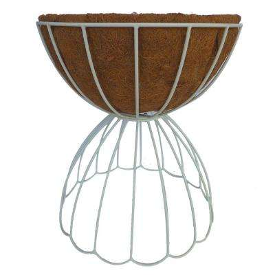 18 in. Dia White Daisy Steel Plant Stand
