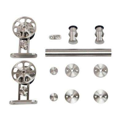 Stainless Steel Top Mount Spoke Wheel Rolling Door Hardware for Wood Doors