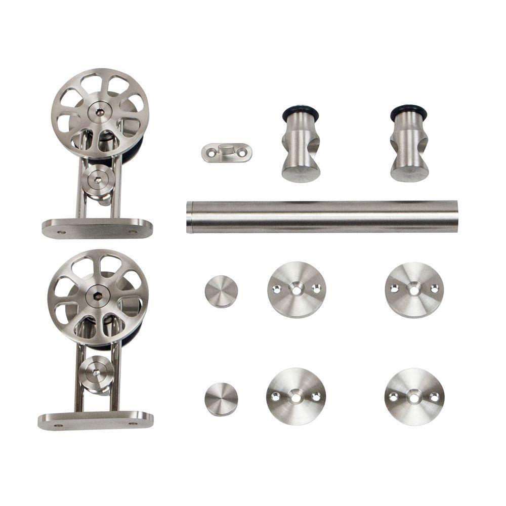 Stainless Steel Top Mount Spoke Wheel Rolling Door Hardware for Wood Doors