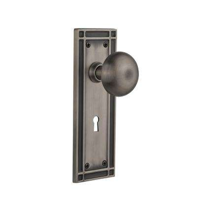 Mission Plate with Keyhole 2-3/8 in. Backset Antique Pewter Passage New York Door Knob